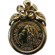 Vintage 18K And 14K Yellow Gold Hawaiian Coin Pendant / Charm Madame Pele And Hibiscus