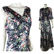 Gorgeous 1930's Vintage Printed And Flocked Silk Chiffon Evening Dress With Jacket