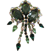 Drippy Vintage Hattie Carnegie Brooch With Aurora Borealis And Green Rhinestones
