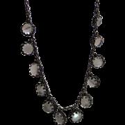 Antique Sterling Silver And Moonstone Fringe Necklace