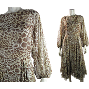 Romantic 1970's Vintage Bill Tice For Malcolm Starr Leopard Printed Silk Dress