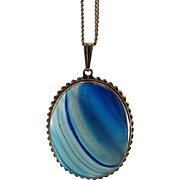 Striking 14K Yellow Gold Mounted Banded Blue Agate Pendant