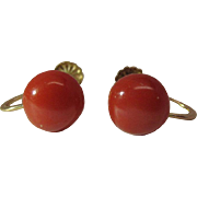 Vintage 14K Yellow Gold 8.65-mm Red Coral Screw-Back Earrings