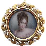 Antique Victorian 14K Gold Hand Painted Portrait Miniature Pendant Brooch In Its Original Box