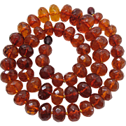 Vintage 1920's Faceted Cognac Amber 22-Inch Necklace