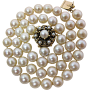 Vintage Retro Era 7.25 - 7.75-mm Cultured Pearl Choker Necklace With 14K Gold Pendant-Clasp