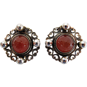 Vintage Ugo Bellini Silver And Carnelian Clip Earrings
