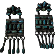 Vintage Mexican Sterling Silver And Turquoise Southwestern Chandelier Style Post Earrings