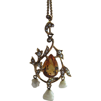 Antique Edwardian Rococo Style 14K Gold Citrine And Seed Pearl Pendant / Lavaliere