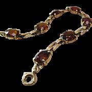 Lovely Vintage 14K Yellow Gold 21 Carat Spessartite Garnet Line Bracelet