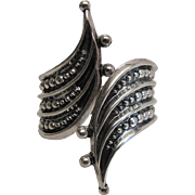 Vintage F. Balladeres Mexican Sterling Silver Hinged Clamper Bracelet