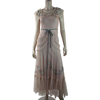 Flowery 1930's Embroidered Pink And Blue Tulle And Taffeta Dress With Floral Appliques
