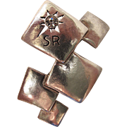 "Whimsical Vintage Sonia Rykiel ""SR"" Brooch With Rhinestone Ornament"