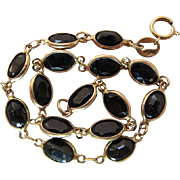14K Yellow Gold 8.7 Carat Deep Blue Natural Sapphire Line Bracelet - 7 3/4-Inches