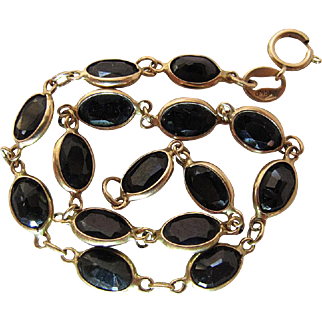 14K Yellow Gold 8.7 Carat Deep Blue Natural Sapphire Line Bracelet - 7 3/4-Inches