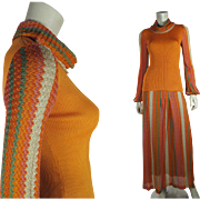 1970's Vintage Two Piece Crissa Italian Knit Dress