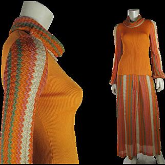 1970's Vintage Two Piece Crissa Italian Knit Dress