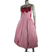Grand 1950's Vintage Rosalie Macrini Sleeveless Satin Party or Evening Dress