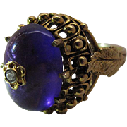 Sumptuous Vintage 14K Yellow Gold 12 Carat Natural Amethyst Cocktail Ring With Inlaid Diamond