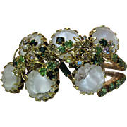 Opulent Hattie Carnegie Clamper Bracelet With Givre Glass Aurora Borealis Rhinestones And More