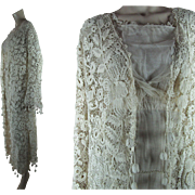 Extraordinary Antique Edwardian Irish Crochet Lace Coat With Three-Dimensional Drops