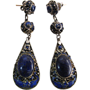 Antique Chinese Enameled Silver & Lapis Dangle Earrings With Bats