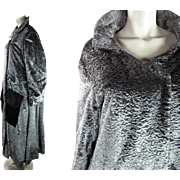 "Long And Luscious 1920's Silky Silver Rayon ""Persian Lamb"" Opera Coat"