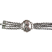 Antique Georgian Silver Chatelaine Watch Chain / Bracelet With Figural Medallion