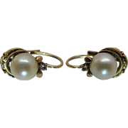 Vintage 14K Yellow Gold 7-mm Cultured Pearl And Diamond Lever-Back Earrings