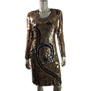 Opulent Early 1980's Vintage Judith Ann Creations Beaded And Sequined Party / Evening Dress