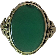 Antique Victorian 14K Yellow Gold Chrysoprase Ring