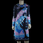 1970's Vintage Paganne By Gene Berk Printed Erté Jersey Dress