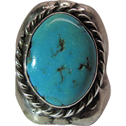 Fine Vintage Navajo Tufa Cast Silver And Turquoise Ring