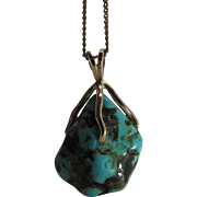 Vintage 14K Yellow Gold Mounted Hand-Made Turquoise Nugget Pendant