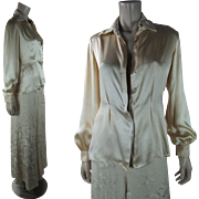 1930's Vintage Canton Embroidered Silk Lounging Pajama Set