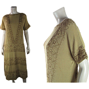 1920's Hand Embroidered Drop Waist Tunic Dress