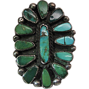 Vintage Zuni Silver Cluster Ring With Petit-Point And Needlepoint Turquoise