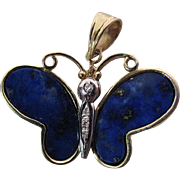 Vintage 14K Yellow And White Gold Diamond And Lapis Butterfly Pendant
