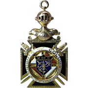 Dated 1924 Enameled 14K Gold Knights Of Columbus Watch Fob With Rubies - Identified