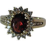 14K Yellow Gold Rhodolite Garnet And Diamond Halo Ring Size 9