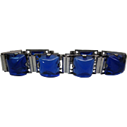 1940's Retro Era Sterling Silver And Sapphire Blue Poured Glass Line Bracelet
