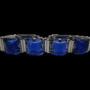 1940's Retro Era Sterling Silver And Sapphire Blue Poured Glass Line Bracelet
