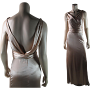 Chic 1930's Pink Silk Charmeuse Evening Gown