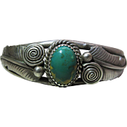 Vintage Navajo Sterling Silver And Turquoise Cuff Bracelet Signed A M