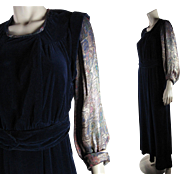 1930's Vintage Blue Silk Velvet Dress With Colorful Lamé Sleeves