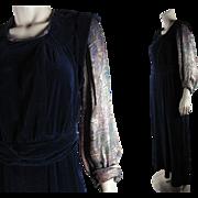 1930's Vintage Blue Silk Velvet Dress With Colorful Lamé Sleeves
