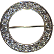 1920's Vintage 18K White Gold Three Carat Diamond Circle Pin