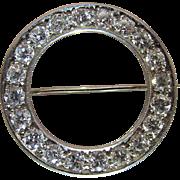 1920's Vintage 18K White Gold Three Carat Diamond Circle Pin