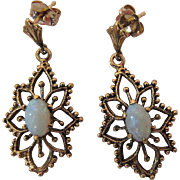 Vintage 14K Yellow Gold Opal Dangle Earrings