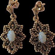 Vintage 14K Yellow Gold Opal Dangle Earrings